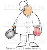 Royalty Free Stock Illustration of a Male Chef Wearing an Oven Mitt and Holding a Cooking Pot by Djart