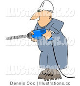 Royalty Free Stock Illustration of a Male Construction Worker Drilling into a Wall with a Power Drill by Djart