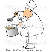 Royalty Free Stock Illustration of a Male Cook Holding a Spoon and Pot of Soup by Djart