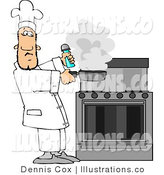 Royalty Free Stock Illustration of a Male Cook Lifting a Smoking Skillet from a Stovetop by Djart