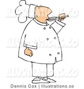 Royalty Free Stock Illustration of a Male Cook Taste Tasting Food Before Serving It to Customers by Djart