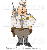 Royalty Free Stock Illustration of a Male Cop Standing in Uniform, Talking on a Portable CB Radio by Djart
