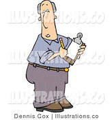Royalty Free Stock Illustration of a Male Manager Taking Notes on an Employee with a Pencil and Clipboard by Djart