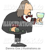 Royalty Free Stock Illustration of a Male Waiter Serving a Glass of Wine by Djart