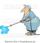 Royalty Free Stock Illustration of a Male Worker Cleaning or Washing with a Professional Pressure Washer by Djart