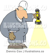 Royalty Free Stock Illustration of a Male Worker Shining a Flashlight on the Ground by Djart