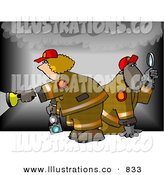 Royalty Free Stock Illustration of a Man and Woman Waslking Through Smoke During a Fire Investigation by Djart