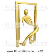 Royalty Free Stock Illustration of a Man Around an Open Door, Symbolizing Lonliness, Split Personalities, Uncertainty, and an Egotistical Person by 3poD