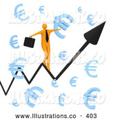 November 11th, 2013: Royalty Free Stock Illustration of a Man Balancing on a Graph Through Floating Blue Euro Symbols by 3poD