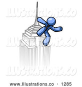 Royalty Free Stock Illustration of a Man Climbing a Skyscraper Tower like King Kong, Success, Achievement by Leo Blanchette