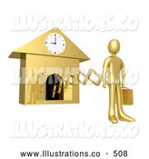 Royalty Free Stock Illustration of a Man Coming from a Cuckoo Clock on a New Work Day, or Punctuality by 3poD