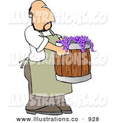 Royalty Free Stock Illustration of a Man Harvesting Red Wine Grapes by Djart