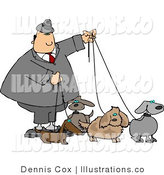 Royalty Free Stock Illustration of a Man in a Suit Walking Four Dogs on Leashes by Djart