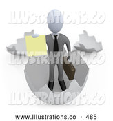 Royalty Free Stock Illustration of a Man in an Eggshell and Holding out a Yellow Sign by 3poD