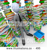 Royalty Free Stock Illustration of a Man in an Unorganized Mess of Colorful Stacked Books by 3poD