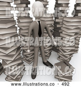 Royalty Free Stock Illustration of a Man in an Unorganized Mess of Stacked Books by 3poD