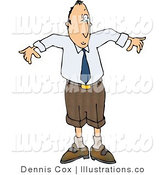 Royalty Free Stock Illustration of a Man Wearing a Shrinking Business Suit - Business Humor by Djart