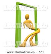 Royalty Free Stock Illustration of a Man Wrapped Around an Open Green Door, Symbolizing Lonliness, Split Personalities, Uncertainty, and an Egotistical Person by 3poD