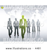 Royalty Free Stock Illustration of a Map with Sample Text and Business People by Anja Kaiser