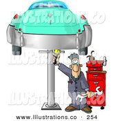 Royalty Free Stock Illustration of a Mechanic Working on an Old Classic Car on a White Background by Djart