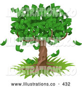 November 7th, 2013: Royalty Free Stock Illustration of a Money Tree Growing an Abundant Amount of Dollar Bills, Symbolizing Environmental Expenses, Trust Funds, Riches, Etc by AtStockIllustration