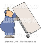 Royalty Free Stock Illustration of a Mover Man Moving a Heavy Refrigerator/Freezer with a Metal Dolly by Djart