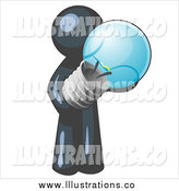 Royalty Free Stock Illustration of a Navy Blue Man Holding a Glass Lightbulb by Leo Blanchette