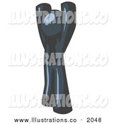 Royalty Free Stock Illustration of a Navy Blue Man with His Arms Above His Head by Leo Blanchette
