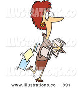 Royalty Free Stock Illustration of a Nervous Caucasian Woman Carrying Company Files, Dropping Some Behind Her by Toonaday
