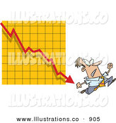 Royalty Free Stock Illustration of a Nervous Man Running from a Bar on a Declining Graph over Yellow by Toonaday