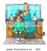 Royalty Free Stock Illustration of a Nervous White Boy Getting His 1st Haircut at a Professional Barbershop by Djart