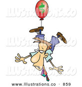 Royalty Free Stock Illustration of a Nervous White Business Man Being Carried Away by a Red Inflation Balloon by Toonaday