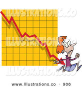 Royalty Free Stock Illustration of a Nervous White Woman Running from a Bar on a Declining Graph by Toonaday