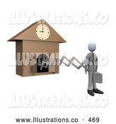 Royalty Free Stock Illustration of a New Work Day Cuckoo Clock by 3poD