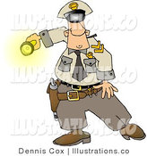 Royalty Free Stock Illustration of a Night Shift Police Officer Shinning His Flashlight at Something by Djart