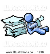 Royalty Free Stock Illustration of a Office Blue Man Leaning Against a Stack of Papers by Leo Blanchette
