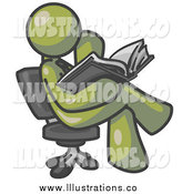 Royalty Free Stock Illustration of a Olive Green Man Reading in a Chair by Leo Blanchette