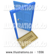 Royalty Free Stock Illustration of a Open Blue Door, Symbolizing Future and Job Opportunities by 3poD