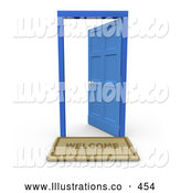 Royalty Free Stock Illustration of a Open Blue Door Symbolizing Job Opportunity by 3poD