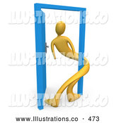 Royalty Free Stock Illustration of a Open Blue Door, Symbolizing Loneliness, Split Personalities, Uncertainty, and an Egotistical Person by 3poD