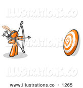Royalty Free Stock Illustration of a Orange Man Aiming a Bow and Arrow at a Target During Repetitive Archery Practice by Leo Blanchette