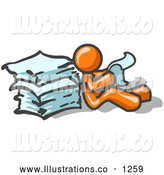 Royalty Free Stock Illustration of a Orange Office Worker Man Leaning Against a Stack of Papers by Leo Blanchette
