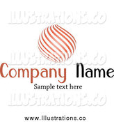 Royalty Free Stock Illustration of a Orange Orb of Curves and Sample Text by KJ Pargeter