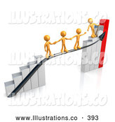 Royalty Free Stock Illustration of a Orange Person Standing on a Bright Silver and Red Bar Graph Chart, Reaching Back to Assist Others up to the Top by 3poD