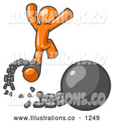 Royalty Free Stock Illustration of a Orange Prisoner Man Jumping for Joy While Breaking Away from a Ball and Chain, Getting a Divorce, Consolidating or Paying off Debt by Leo Blanchette