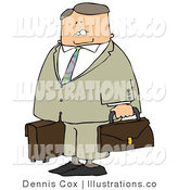 Royalty Free Stock Illustration of a Packed up Businessman Ready to Fly for Work by Djart
