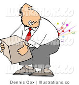 Royalty Free Stock Illustration of a Pained Businessman Cracking and Injuring His Lower Back While Lifting a Heavy Box the Wrong Way by Djart