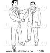 Royalty Free Stock Illustration of a Pair of Businessmen Agreeing on a Contract by AtStockIllustration