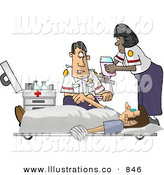 Royalty Free Stock Illustration of a Pair of Emergency Medical Technicians (EMTs) Treating a Patient by Djart