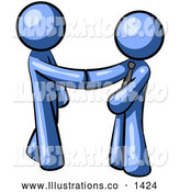 Royalty Free Stock Illustration of a Pair of Office Workers Shaking Hands, Agreeing on a Business Deal by Leo Blanchette